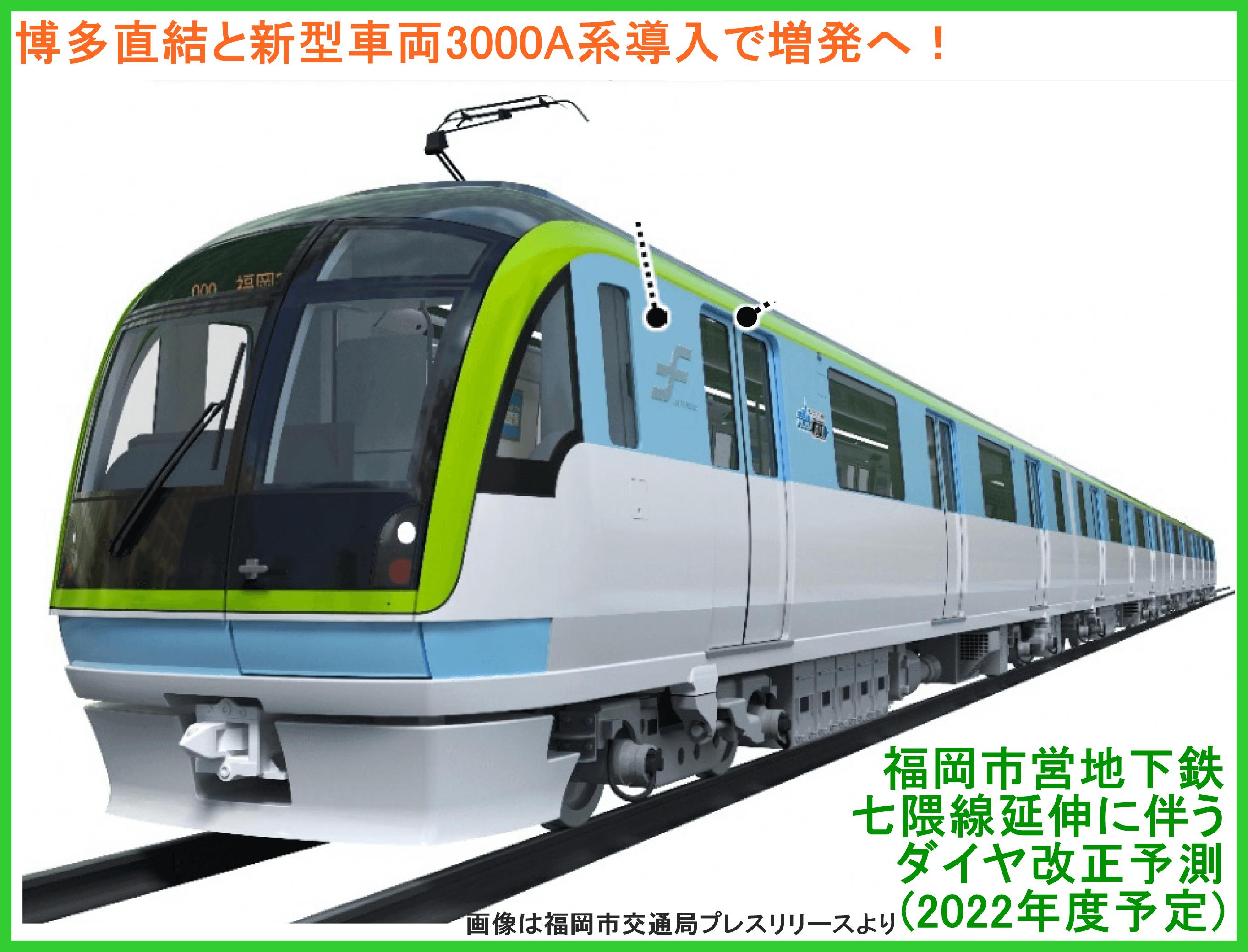 博多直結と新型車両3000A系導入で増発へ! 福岡市営地下鉄七隈線延伸に伴うダイヤ改正予測(2022年度予定)